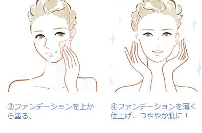 (3)ファンデーションを上から塗る。(4)ファンデーションを薄く 仕上げ、つややか肌に!